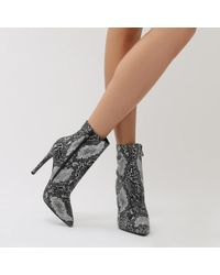 Public Desire - Harlee High Shine Pointed Toe Ankle Boots In Snake - Lyst