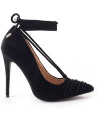 Public Desire - Media Court Shoe With Pointed Toe And Lace Up Detail In Black Velvet - Lyst