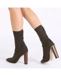 Public Desire - Emily Sock Fit Stretch Boot In Khaki - Lyst