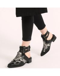 Public Desire - Tegan Western Style Mule Boots In Black And Snake Print - Lyst