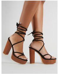9fce42ffe3c6 Public Desire - Strut Lace Up Block Heels In Black Faux Suede - Lyst