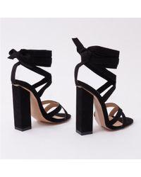 Public Desire - Vera Lace Up Heels In Black Faux Suede - Lyst