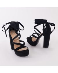 Public Desire - Stella Lace Up Heels In Black Faux Suede - Lyst