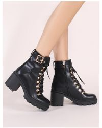 Public Desire - Swag Lace Up Ankle Boots In Black - Lyst