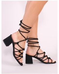 Public Desire - Freya Knotted Strappy Block Heeled Sandals In Black Faux Suede - Lyst