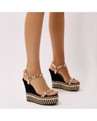 Public Desire - Sherry Braided Platform Wedges In Rose Gold - Lyst