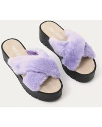 Public Desire | Kia Cross Over Cleated Sole Sliders In Lilac Faux Fur | Lyst