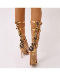 Public Desire - Jazz Knee High Strappy Embellished Heels In Gold Satin - Lyst