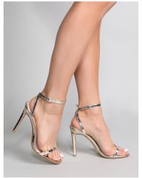 bb7cc338032 Public Desire - Notion Squared Toe Barely There Heels In Gold - Lyst