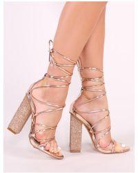 Public Desire - Sparkle Diamante Lace Up Heels In Rose Gold - Lyst