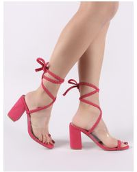 e2594eab40a Public Desire - Mia Lace Up Block Heeled Sandals In Fuchsia Faux Suede -  Lyst
