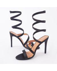 a6b27cd3c83d Public Desire - Fire Sculpted Wrap Around Stiletto High Heels In Black  Satin - Lyst
