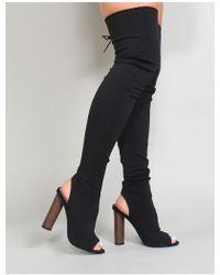Public Desire - Sidney Peeptoe Sock Fit Boots In Black - Lyst