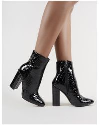 82ffa8821eb Lyst - Public Desire Kim Ring Buckle Croc Heeled Ankle Boots in Black