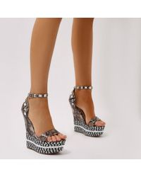 Public Desire - Stacey Braided Studded Wedges In Faux Snake - Lyst