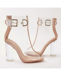 Public Desire - Glazed Buckled Perspex Boots In Nude Patent - Lyst