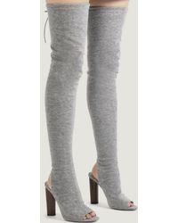 Public Desire - Sidney Peeptoe Sock Fit Boots In Grey - Lyst