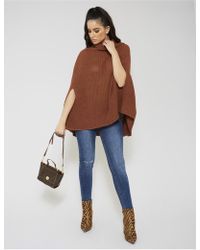 Public Desire - Camel Roll Neck Cape Knitted Jumper - Lyst