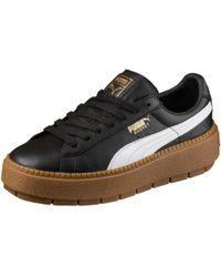 e06390a35614 PUMA - Platform Women s Trace Leather Sneakers - Lyst