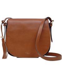 Radley Grosvenor Leather Flapover Medium Shoulder Handbag in Brown ... cdbfda37be1bd