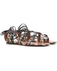 6b06e2af0ac5 Lyst - Valentino Velvet Lace-up Flat Sandal in Black