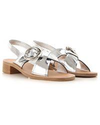 25095fd5a04 Lyst - Prada Metallic Leather Thong Sandals in Metallic