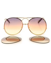 273261ba545 Lyst - Chloé Isidora Aviator Sunglasses in Brown
