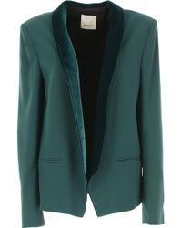 Pinko - Dark Green Prisma Jacket With Velvet Edges - Lyst
