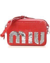d857e6ae96bd Lyst - Miu Miu Two-Tone Leather Shoulder Bag in Natural