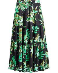 Lauren by Ralph Lauren - Fern-print Poplin Midi Skirt - Lyst