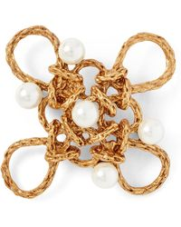 Ralph Lauren - Crystal Pearl–brass Brooch - Lyst