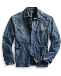 RRL - Indigo Striped Jersey Jacket - Lyst