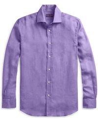 a4aa2bdd4c Ralph Lauren Purple Label Aston Linen Sport Shirt in Blue for Men - Lyst
