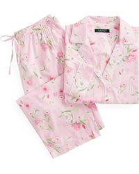 333320fa959 Ralph Lauren Plaid Sateen Pajama Set in Pink - Lyst
