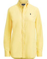 0ba07d9cfc0f82 Lyst - Polo Ralph Lauren Silk Charmeuse Shirt in Natural