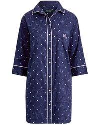Ralph Lauren - Polka-dot Sateen Sleep Shirt - Lyst bec257650