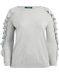 Ralph Lauren - Ruffled Silk-blend Sweater - Lyst