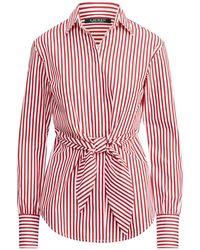 db83eef02cda78 Ralph Lauren - Striped Tie-front Cotton Shirt - Lyst