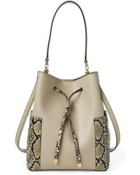 8400d1a0a962 Ralph Lauren Straw Debby Drawstring Bag in Blue - Lyst