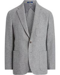 Polo Ralph Lauren Veste de costume en tweed de laine - Gris