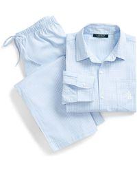 Ralph Lauren - Checked Cotton Pajama Set - Lyst