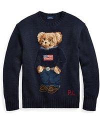 d53b6e439 Ralph Lauren Blue Label Polo Bear Sweater in Blue - Lyst