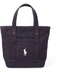 a8eafdb88cd Polo Ralph Lauren Crest Canvas-leather Tote in Blue - Lyst