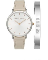 Rebecca Minkoff - Major Putty 35mm Watch & Stainless Steel Bangle Gift Set - Lyst