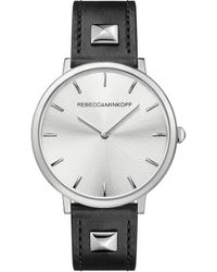 Rebecca Minkoff - Major Silver Tone Pyramid Studded Leather Watch, 35mm - Lyst