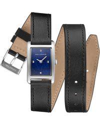 Rebecca Minkoff - Moment Silver Tone Black Leather Strap Watch, 19mmx30mm - Lyst