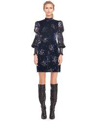 Rebecca Taylor - Violet Floral Satin Burnout & Velvet Dress - Lyst