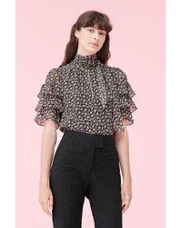 Rebecca Taylor Louisa Floral Ruffle Clip Top - Black