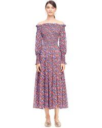 Rebecca Taylor - Off-the-shoulder Cosmic Fleur Print Dress - Lyst