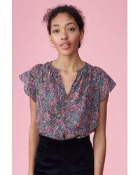 Rebecca Taylor - Hudson Paisley Silk Top Berry, Size 6 - Lyst